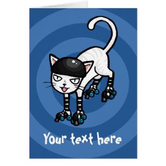 White cat on rollerskates customisable template