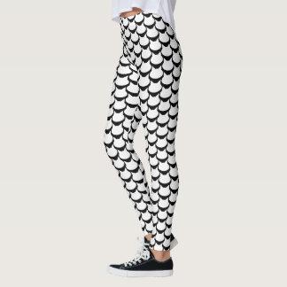 White Cat Pattern Black & White Leggings