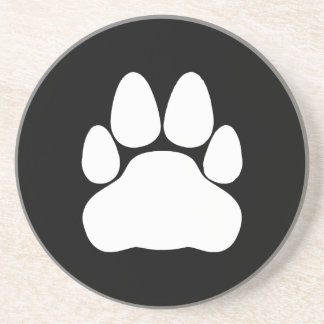 White Cat Paw Print Shape Drink Coasters