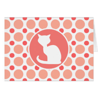 White Cat; Pink & Coral Polka Dots Card