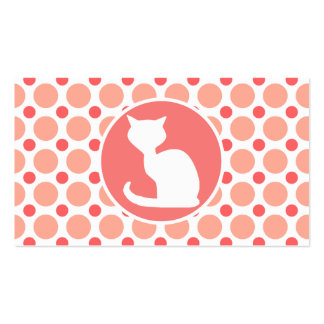 White Cat; Pink & Coral Polka Dots Pack Of Standard Business Cards