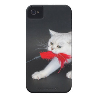 White cat playing pulling red toy iPhone 4 cover