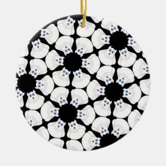 White cat round ceramic decoration
