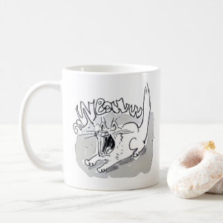 white cat screaming meow cartoon coffee mug