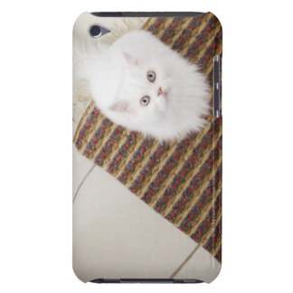 White cat sitting on mat iPod Case-Mate cases