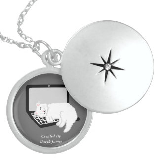 White Cat Sleeping On Laptop Silver Round Locket