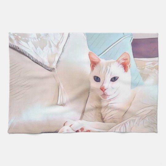 White Cat Tea Towel