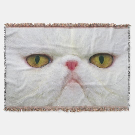 White Cat Throw Blanket