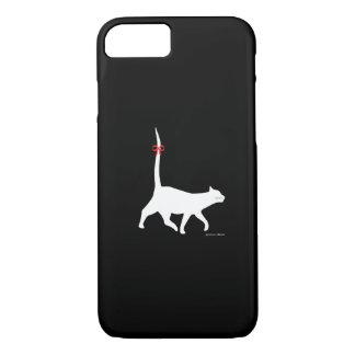 """White Cat Walk"" Black iPhone Case"