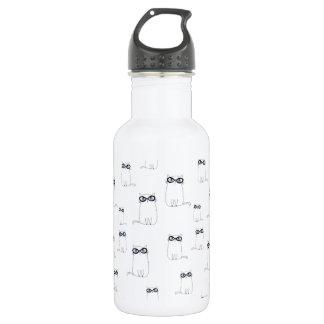 White Cat Wearing Glasses 532 Ml Water Bottle