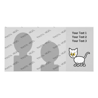 White Cat with Amber Color Eyes. Custom Photo Card