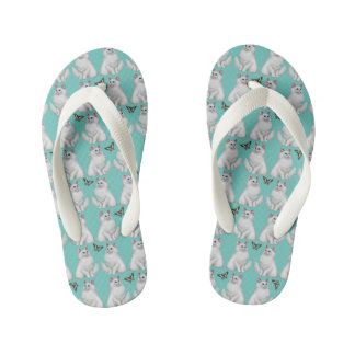White Cat with Butterfly Kids Flip Flops Thongs