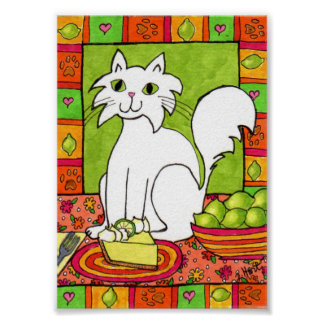 White Cat with Key Lime Pie Mini Folk Art Poster