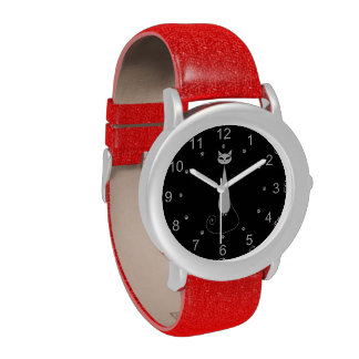White Cat with Paw Prints Wristwatches