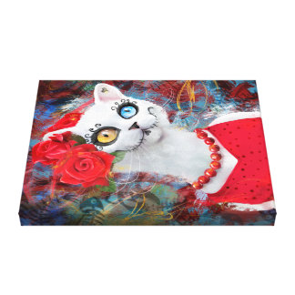 White cat with roses canvas print
