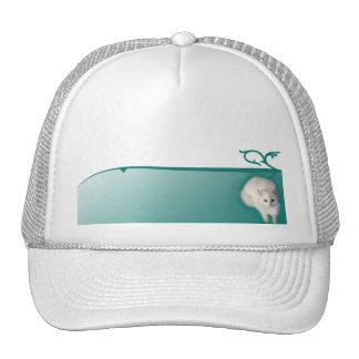 White Cat with Turquoise Eyes Mesh Hat