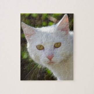 White Cat With Yellow Eyes Jigsaw Puzzle