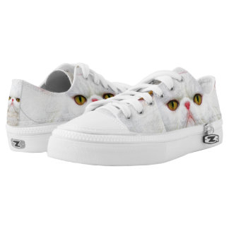 White Cat Zipz Low Top Sneakers, Printed Shoes