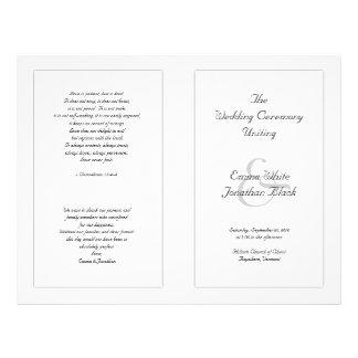 White Catholic Wedding Ceremony Program 21.5 Cm X 28 Cm Flyer