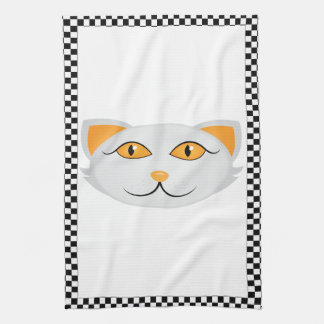White Cat's Face w/ Checkered Border Personalized Tea Towel