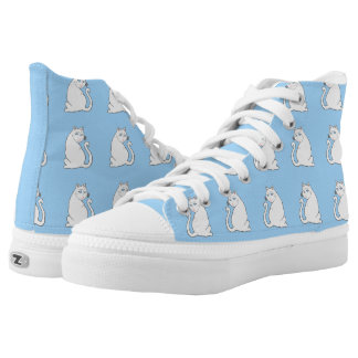 White Cats Pattern Blue High Top Shoes Printed Shoes