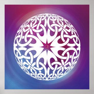 White Celtic knot circle  Poster