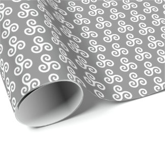 White Celtic Triple Spiral Triskele on Medium Gray Wrapping Paper