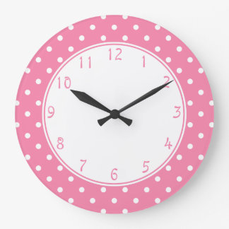 White center Small White Polka Dots on hot pink Large Clock