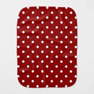 White center Small White Polka dots red background Burp Cloth
