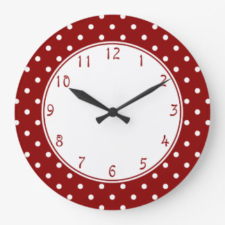 White centre Small White Polka dots red background Large Clock