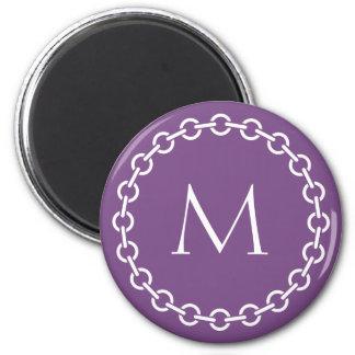 White Chain Link Ring Circle Monogram 6 Cm Round Magnet
