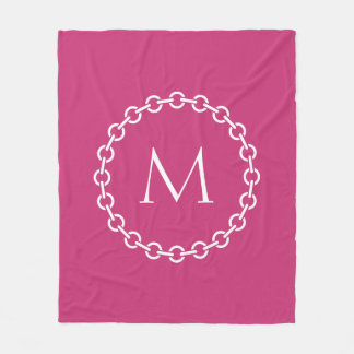 White Chain Link Ring Circle Monogram Fleece Blanket
