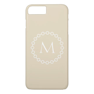 White Chain Link Ring Circle Monogram iPhone 8 Plus/7 Plus Case