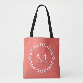 White Chain Link Ring Circle Monogram Tote Bag