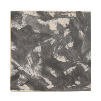 White Chalk and Black Ink Wood Coaster