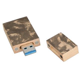 White Chalk and Black Ink Wood USB 3.0 Flash Drive