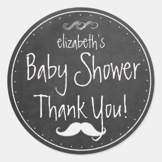 White Chalkboard Look Mustache  Baby Shower Favor Round Sticker