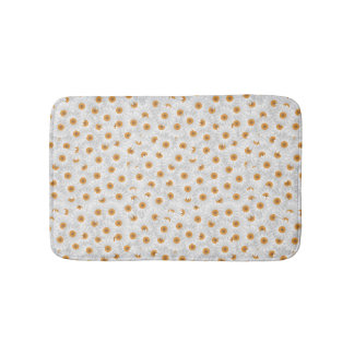White Chamomile Flower Pattern Bath Mats