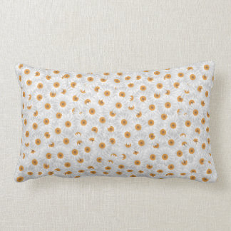 White Chamomile Flower Pattern Lumbar Pillow