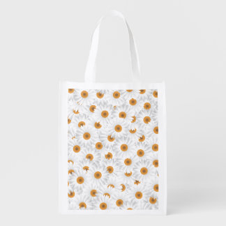 White Chamomile Flower Pattern Reusable Grocery Bag