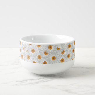 White Chamomile Flower Pattern Soup Bowl With Handle