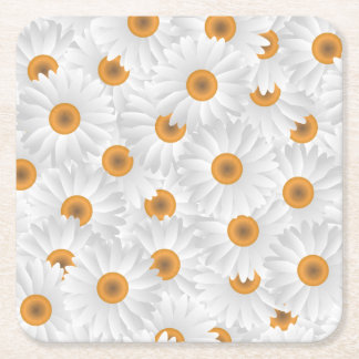 White Chamomile Flower Pattern Square Paper Coaster