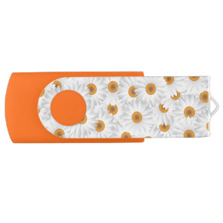 White Chamomile Flower Pattern Swivel USB 2.0 Flash Drive