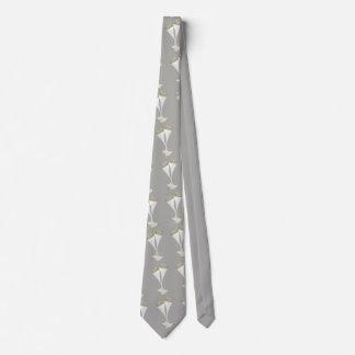 White Champagne Flutes ion Gray Tie