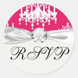 white chandelier baroque on red raspberry round sticker