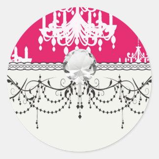 white chandelier baroque on red raspberry round stickers
