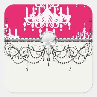 white chandelier baroque on red raspberry sticker