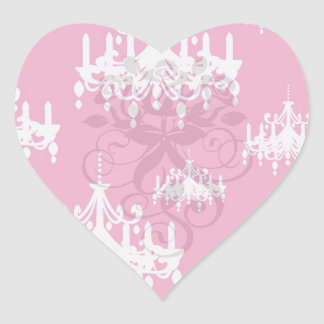 white chandelier baroque on red raspberry heart stickers