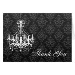 White Chandelier Black Damask Thank You Note