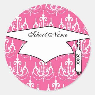 white chandelier chic pink damask graduation round sticker